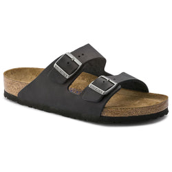 Birkenstock Arizona Oiled Leather/Black Sandal Soft Footbed - Omars Shoes