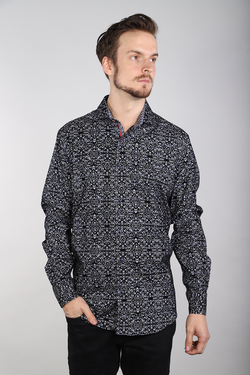 Men's 7 Downie St 2032A/ Black Flocked Long Sleeve Shirt