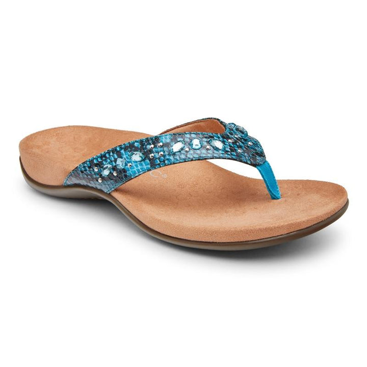 Women's Vionic Lucia Toe Post/Aqua Snake Sandal - Omars Shoes