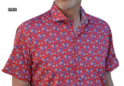 Men's 7 Downie St 3533/Red Floral Short Sleeve Shirt