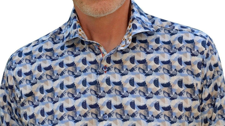 Men's 7 Downie St 3013/Navy Print Long Sleeve Shirt