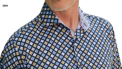 Men's 7 Downie St 3094/Blue Multi Long Sleeve Shirt