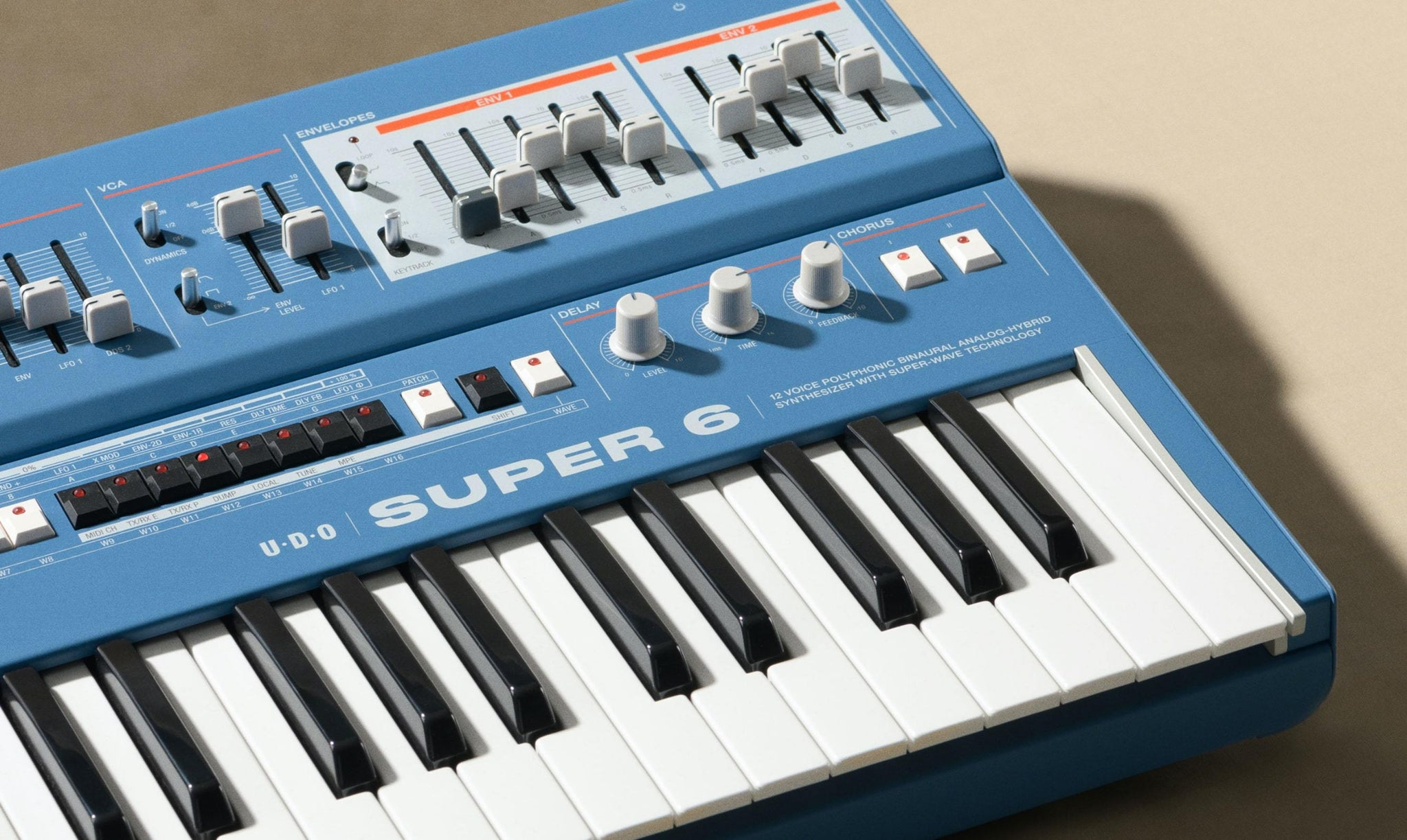 The Super 6 is a 12-voice polyphonic, binaural analog-hybrid synthesizer