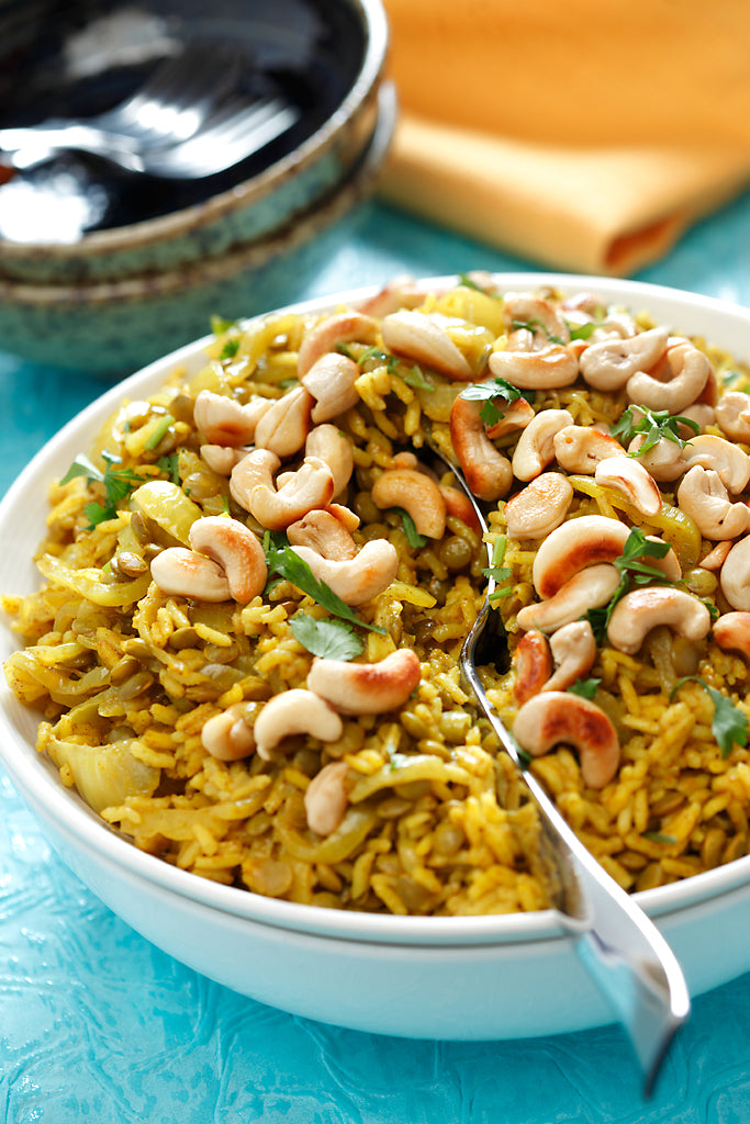 Wheat Berry Pilaf with Cashew Nuts
