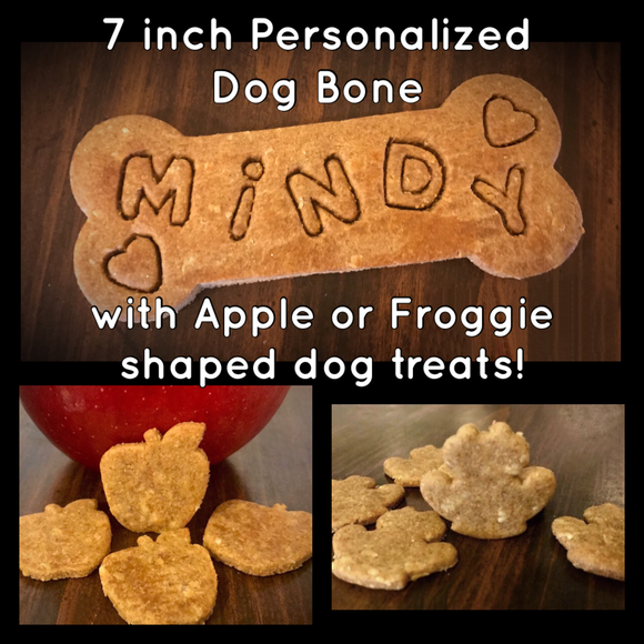 Personalized 7 inch Dog Bone with Apple or Froggie Shaped Dog Treats!