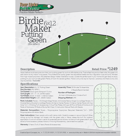 Tour Links 6' x 12' Birdie Maker Putting Green PG-18PM-1