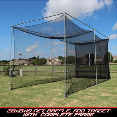 Cimarron Sports 20x10x10 Masters Golf Net With Complete Frame CM-MAS20GNCF