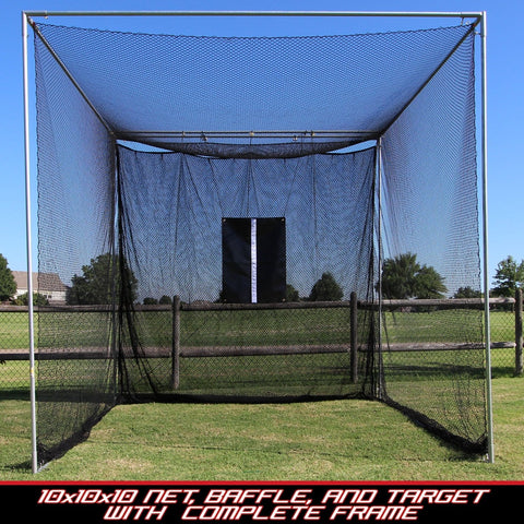 Cimarron Sports 10x10x10 Masters Golf Net with Complete Frame CM-MAS10GNCF