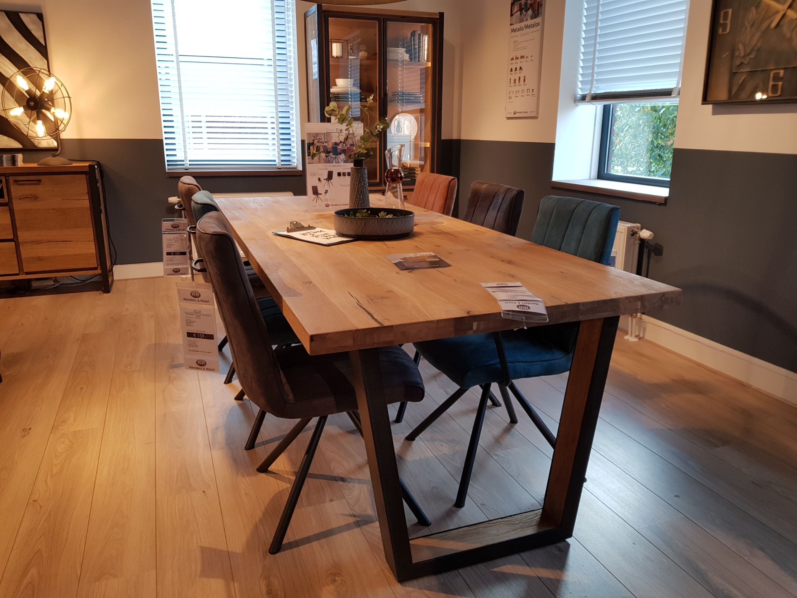 Habufa Metalox Fixed Top Oak Dining Tables-[Habufa Detroit]-[Furniture Village Detroit]-170 cms-U shape metal legs-Wavy edge-Against The Grain Furniture