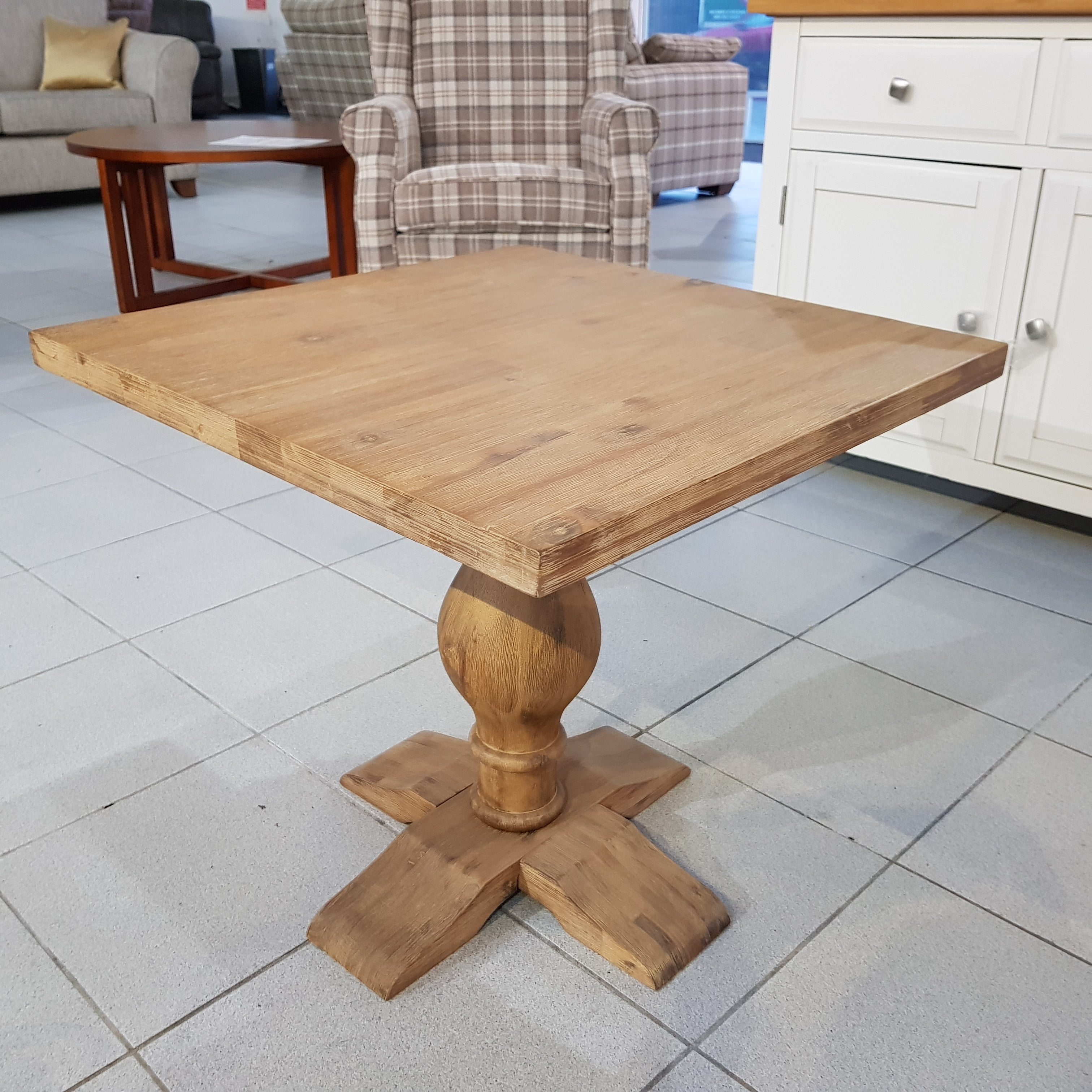 Discontinued ex Display Side Table In Distressed Acacia Wood