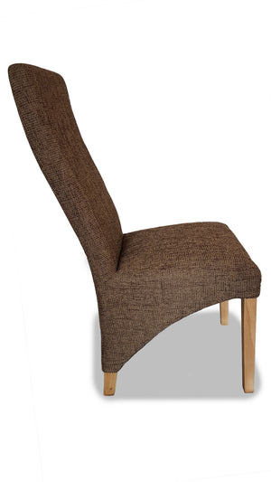 Berry Dining Chairs in Tan Woven fabric, Ex Display