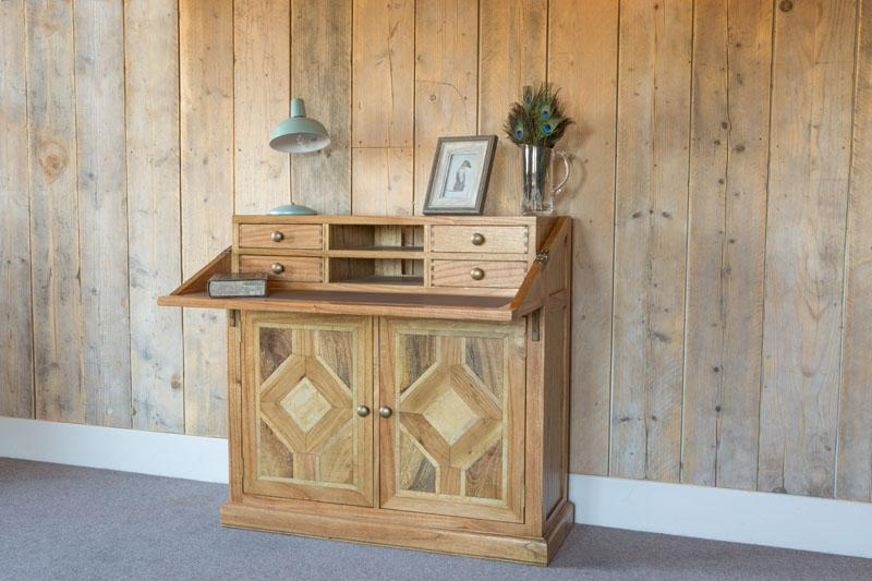 Welbeck Campaign Oak Chest Desk.