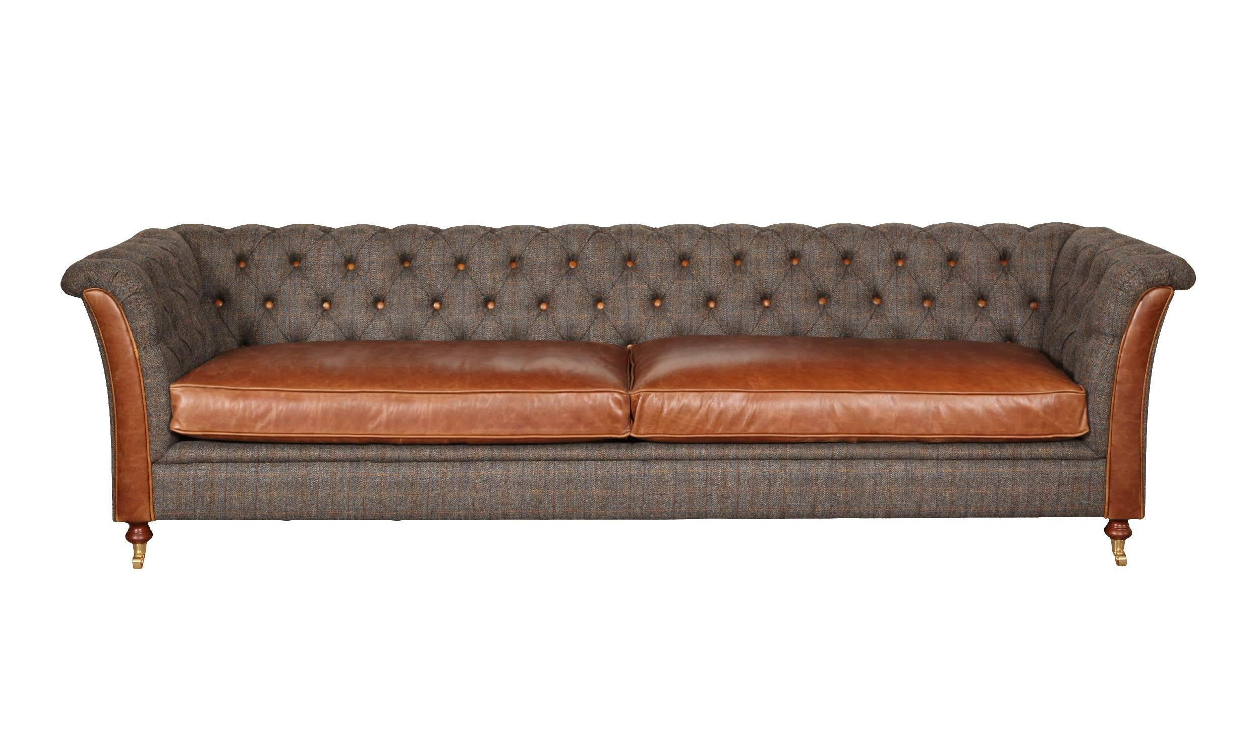 Granby Harris Tweed and Leather Sofas and Chairs.-harris tweed sofas-Against The Grain Furniture-4 Seater-Morland-Against The Grain Furniture