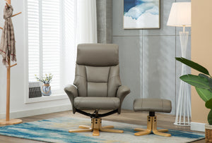 Marseilles grey leather swivel chair