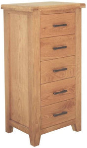 Oak tall chest of drawers