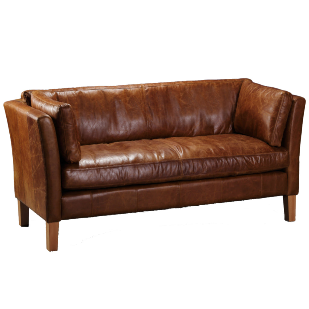 Barkby Full Aniline Leather Sofas-harris tweed leather sofas-Against The Grain Furniture-2 Seater-Against The Grain Furniture