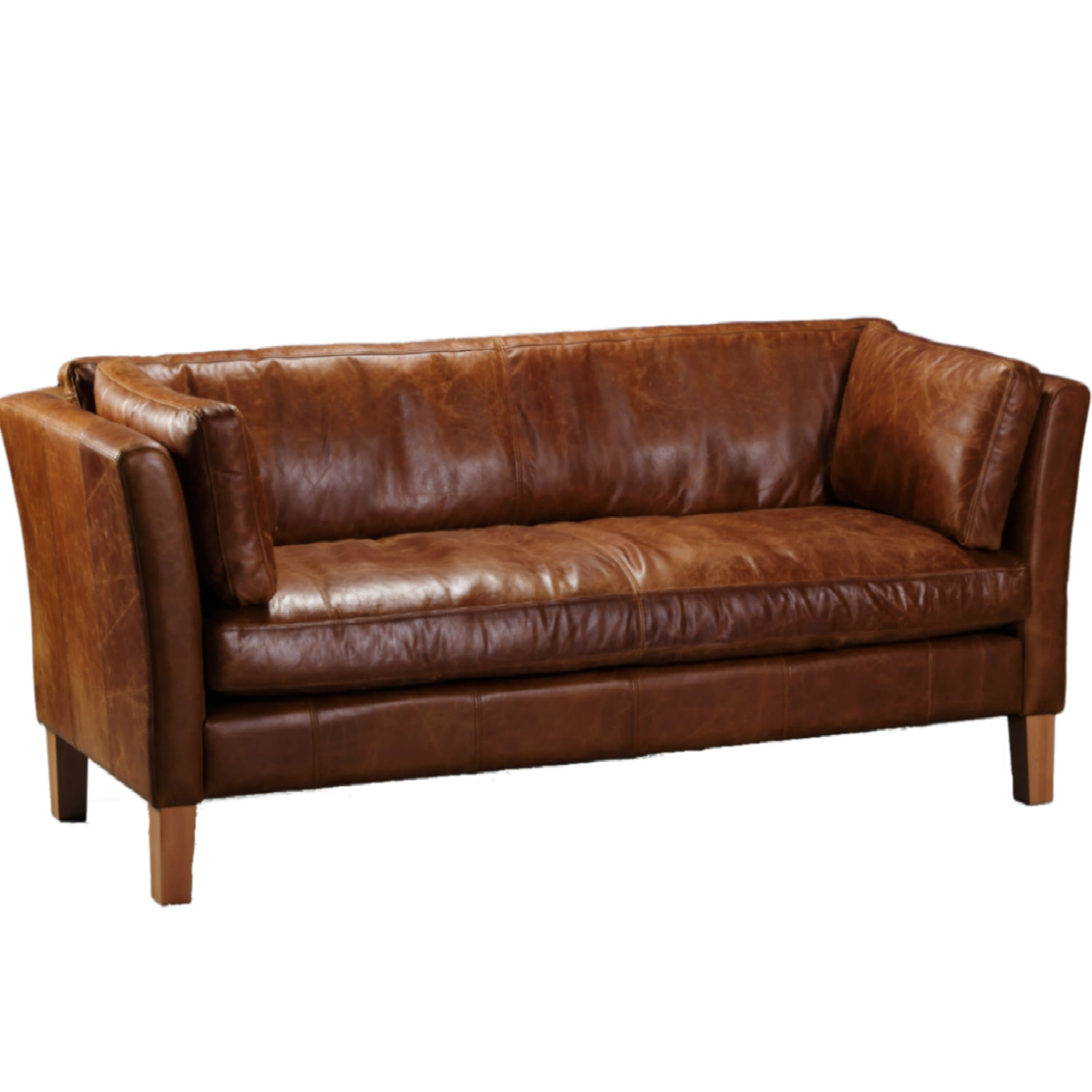 Barkby Full Aniline Leather Sofas-harris tweed leather sofas-Against The Grain Furniture-3 seater-Against The Grain Furniture