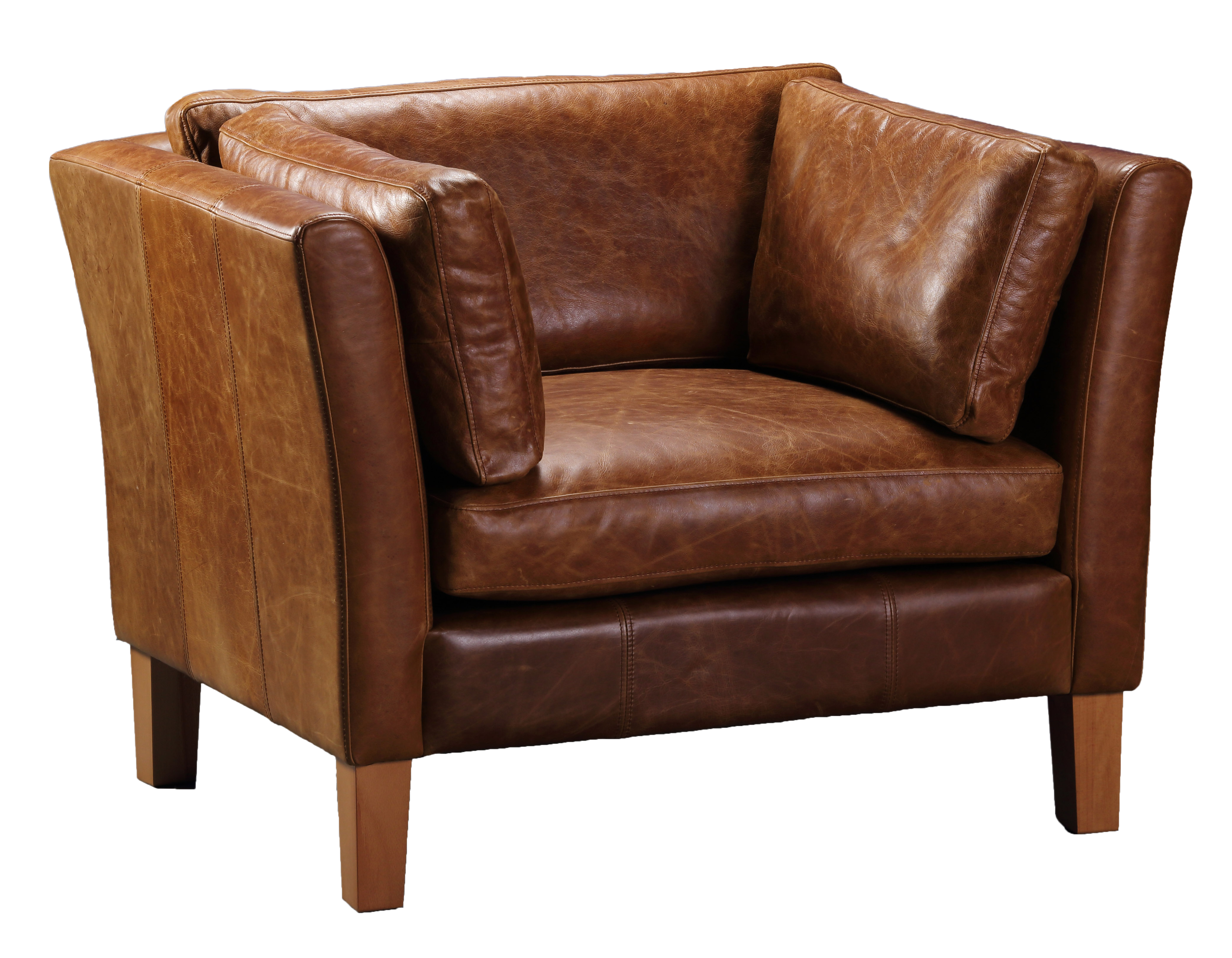 Barkby Full Aniline Leather Sofas-harris tweed leather sofas-Against The Grain Furniture-Chair-Against The Grain Furniture