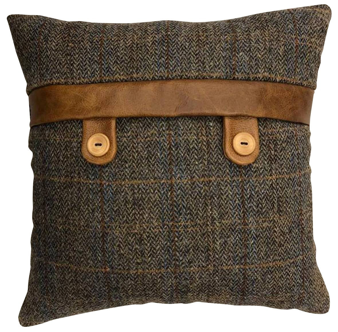 Harris Tweed and Leather Cushions-harris tweed cushions-Against The Grain Furniture-Belt and Button 40 cm square-Against The Grain Furniture