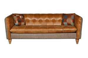 Brunswick Harris Tweed and Leather Sofas.-harris tweed sofas-Against The Grain Furniture-3 seater-Against The Grain Furniture