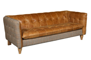 Brunswick Harris Tweed and Leather Sofas.-harris tweed sofas-Against The Grain Furniture-2 Seater-Against The Grain Furniture