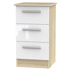 Cheap and Cheerful Bedside Cabinets In White Gloss and Oak