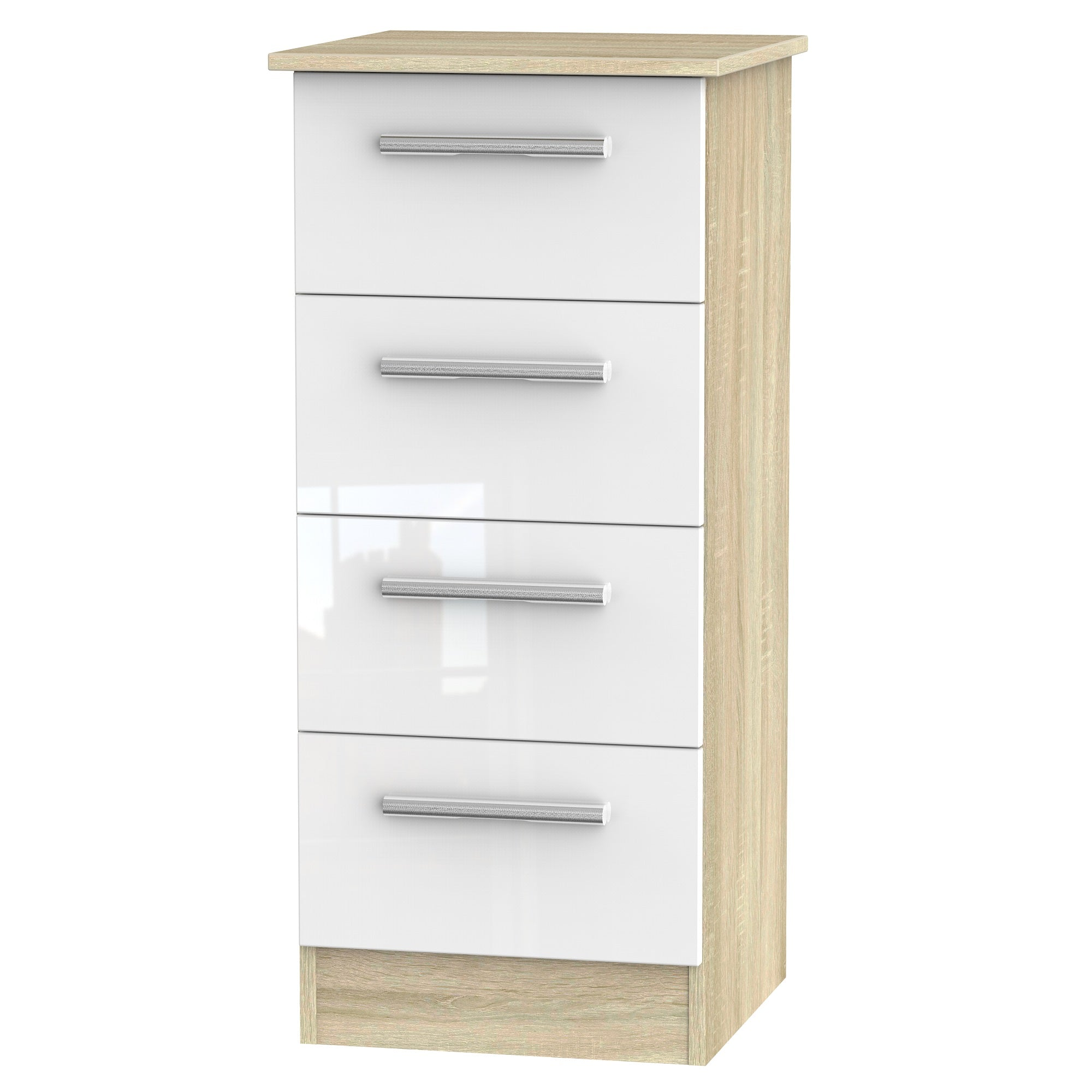 Cheap and Cheerful Slim Chests of Drawers In White Gloss and Oak