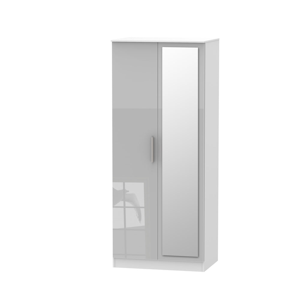 Cheap and Cheerful Standard Wardrobes In Grey Gloss and White