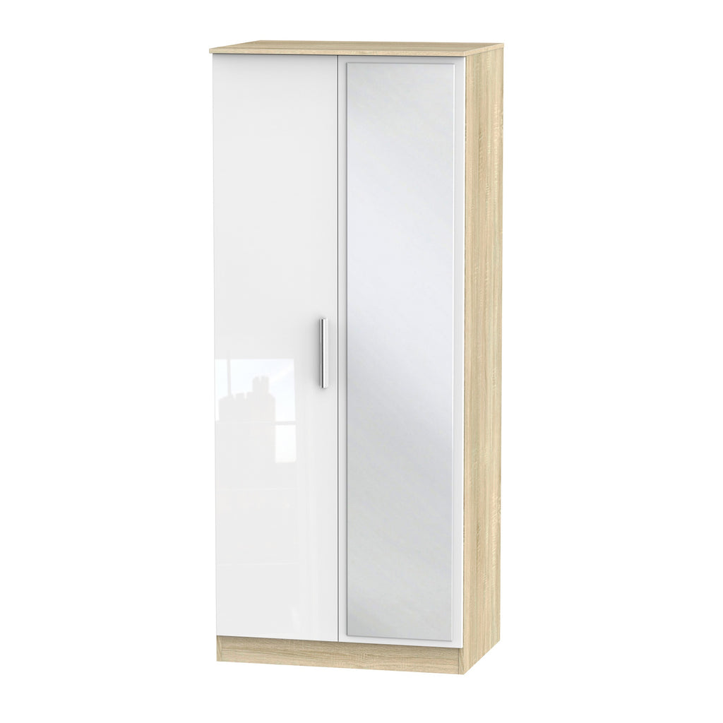 Cheap and cheerful white and oak wardrobe