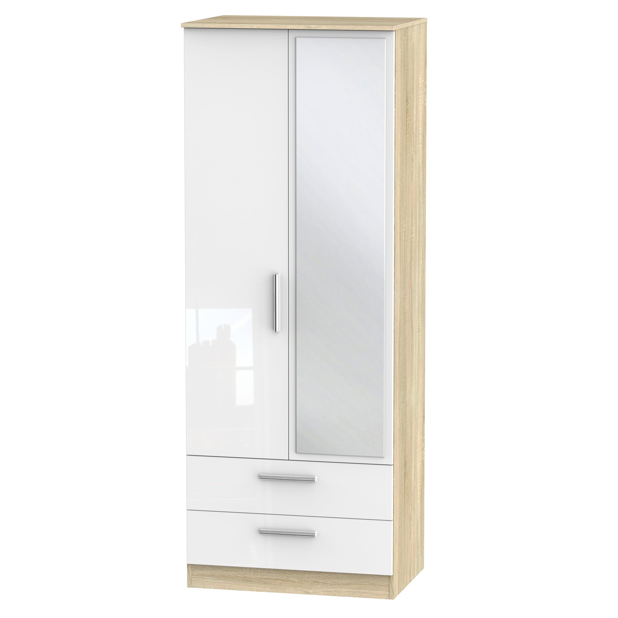 Cheap and Cheerful  Taller Wardrobes In White Gloss and Oak