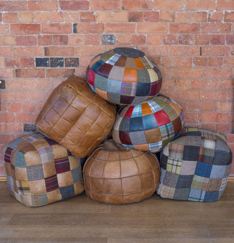 Harris Tweed and Leather Patchwork Beanbags-harris tweed beanbags-Against The Grain Furniture-Harris Tweed and Leather Patch 50 x 50-Against The Grain Furniture