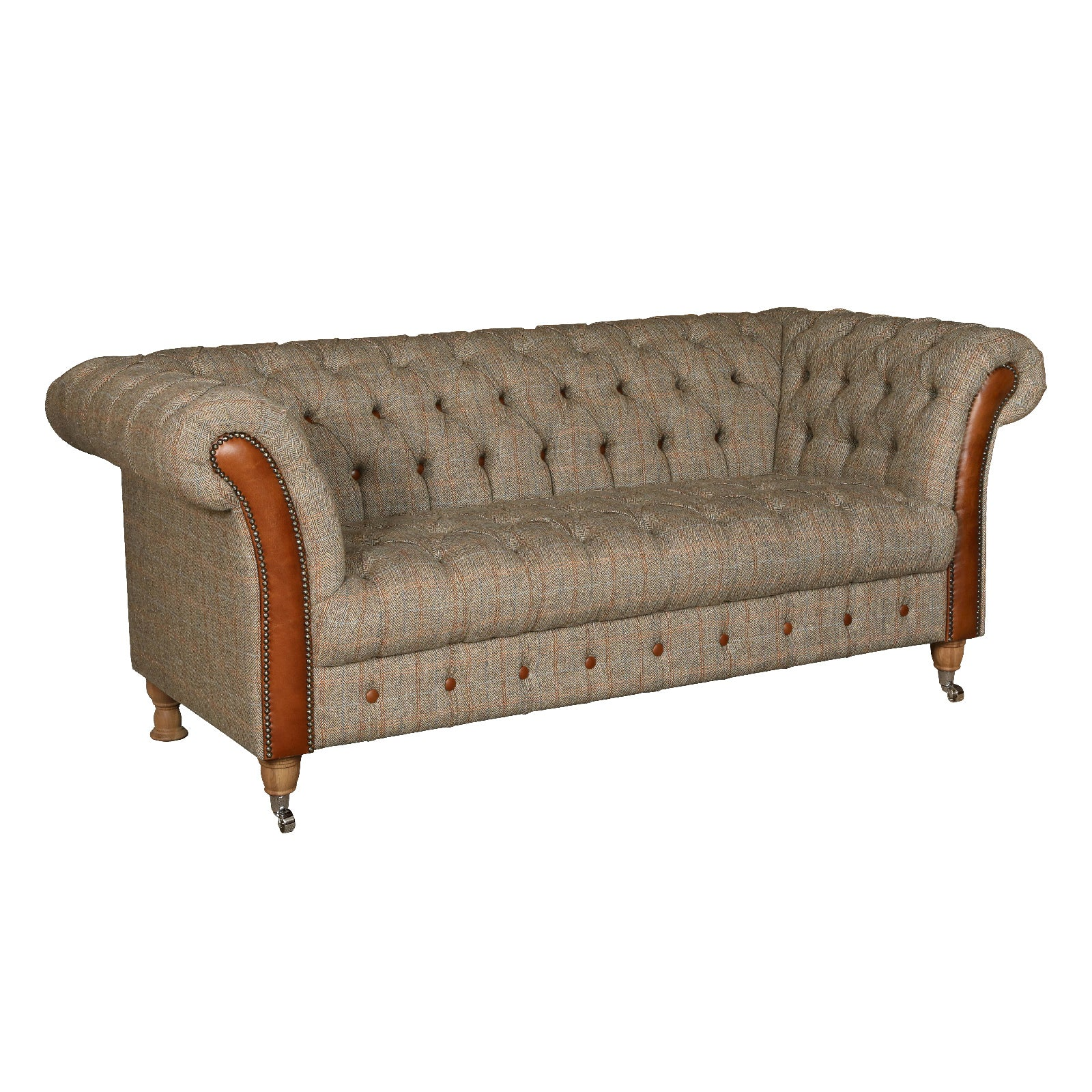 Chester Club Harris Tweed and Leather Sofas and Chair.
