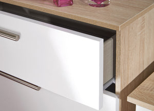 Cheap and Cheerful Deep Chests of Drawers In White Gloss and Oak deep
