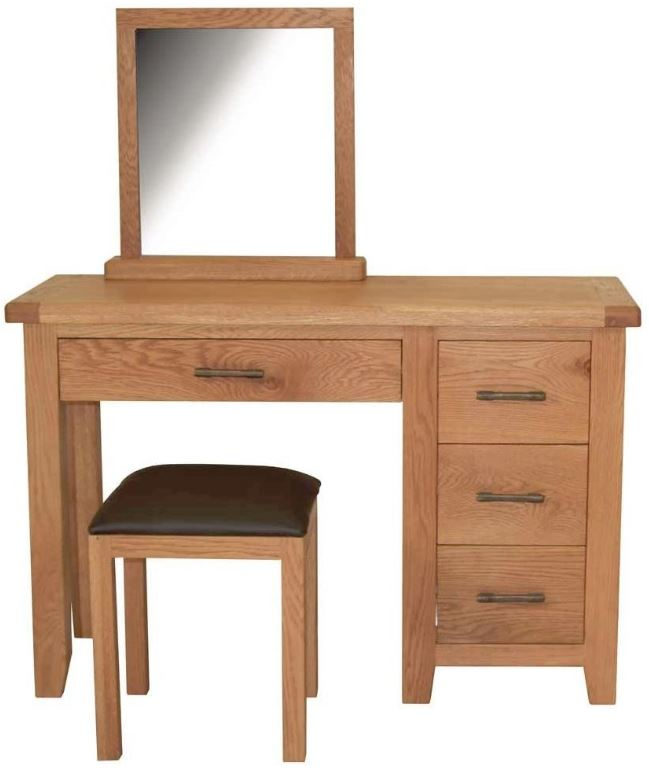 Farmhouse Oak Dressing Table, Stool and Mirror Set