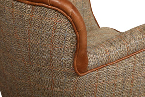 Elston Harris Tweed and Leather Chair.-harris tweed sofas-Against The Grain Furniture-Against The Grain Furniture