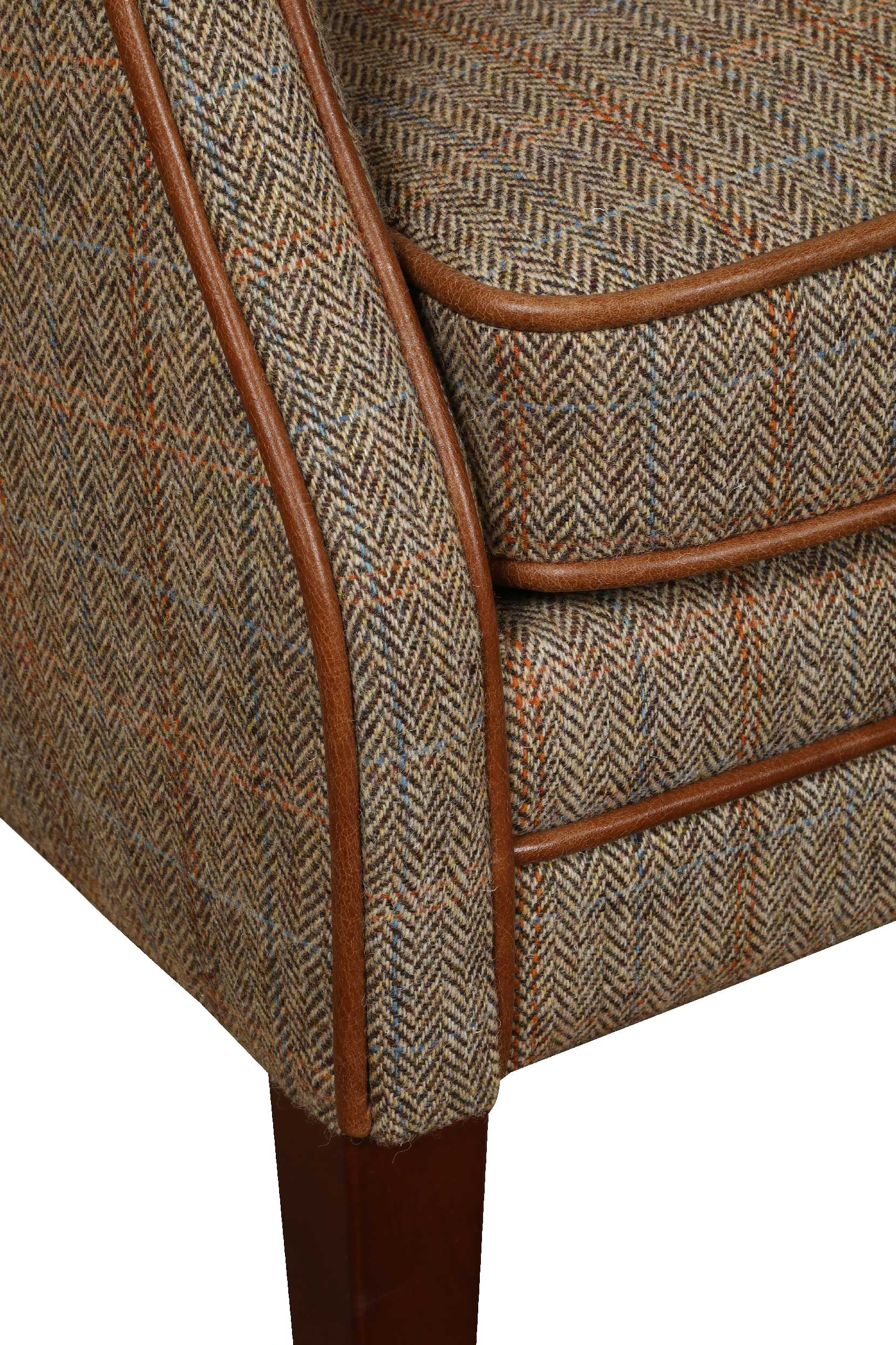 Elston Harris Tweed and Leather Chair.