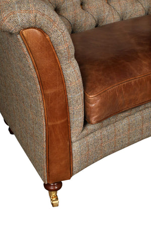 Granby Harris Tweed and Leather Sofas and Chairs.-harris tweed sofas-Against The Grain Furniture-3 Seater-Hunters Lodge-Against The Grain Furniture