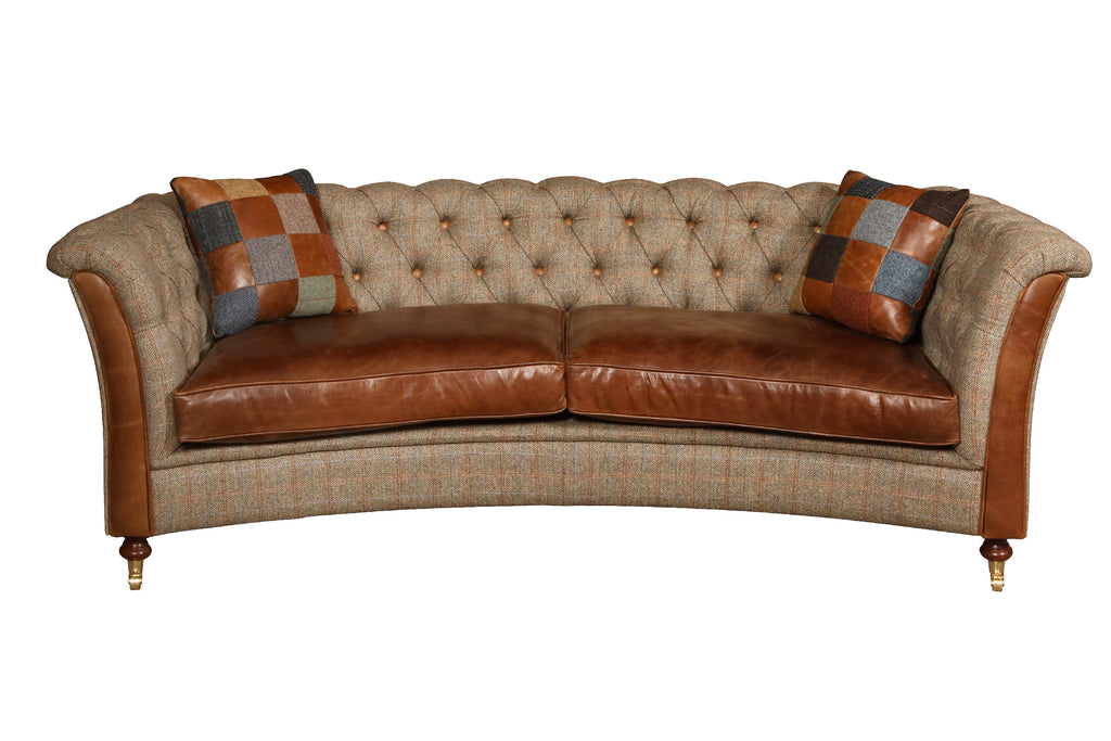 Granby Harris Tweed and Leather Curved Sofa.