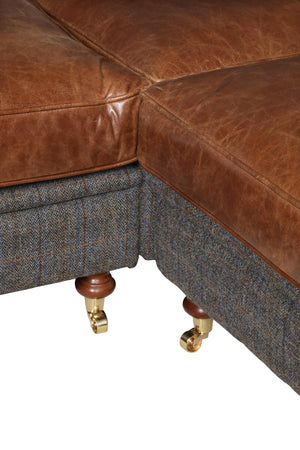 Granby Harris Tweed and Leather Modular Corner Groups-harris tweed corner groups-Against The Grain Furniture-1 Seat Right hand Facing-Morland-Against The Grain Furniture