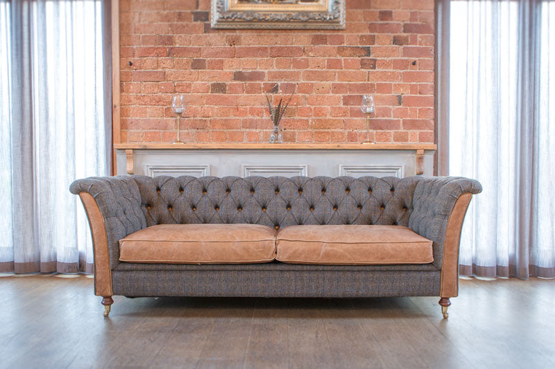 Granby Harris Tweed and Leather Sofas and Chairs.-harris tweed sofas-Against The Grain Furniture-3 Seater-Morland-Against The Grain Furniture