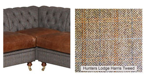Granby Harris Tweed and Leather Modular Corner Groups-harris tweed corner groups-Against The Grain Furniture-Corner Piece only-Hunters Lodge-Against The Grain Furniture