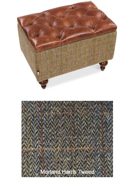 Granby Harris Tweed and Leather Modular Corner Groups-harris tweed corner groups-Against The Grain Furniture-Footstool-Morland-Against The Grain Furniture