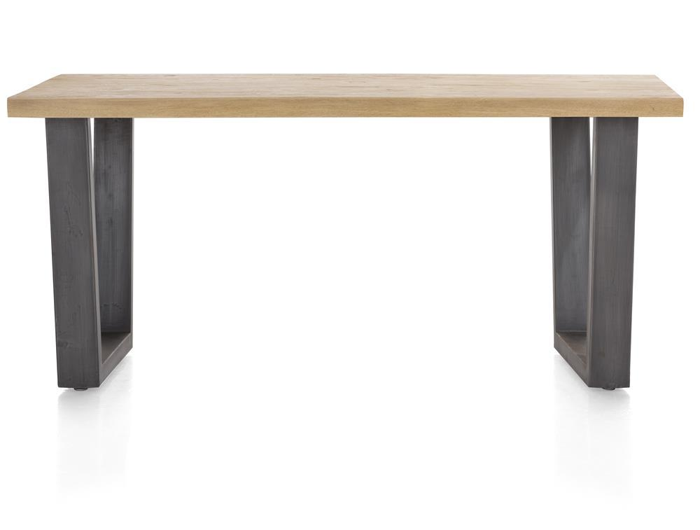 Habufa Metalox Fixed Top Oak Dining Tables-[Habufa Detroit]-[Furniture Village Detroit]-170 cms-U shape metal legs-Straight edge-Against The Grain Furniture