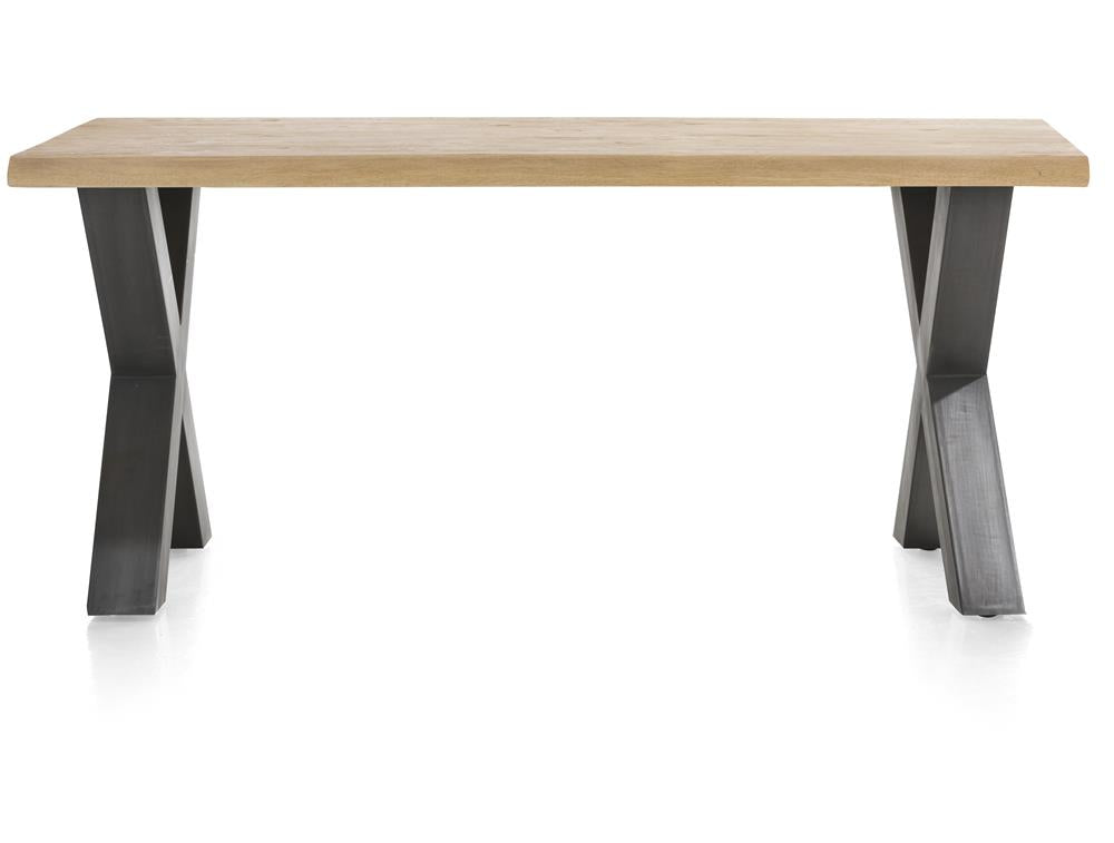 Habufa Metalox Fixed Top Oak Dining Tables-[Habufa Detroit]-[Furniture Village Detroit]-170 cms-X shape metal legs-Wavy edge-Against The Grain Furniture