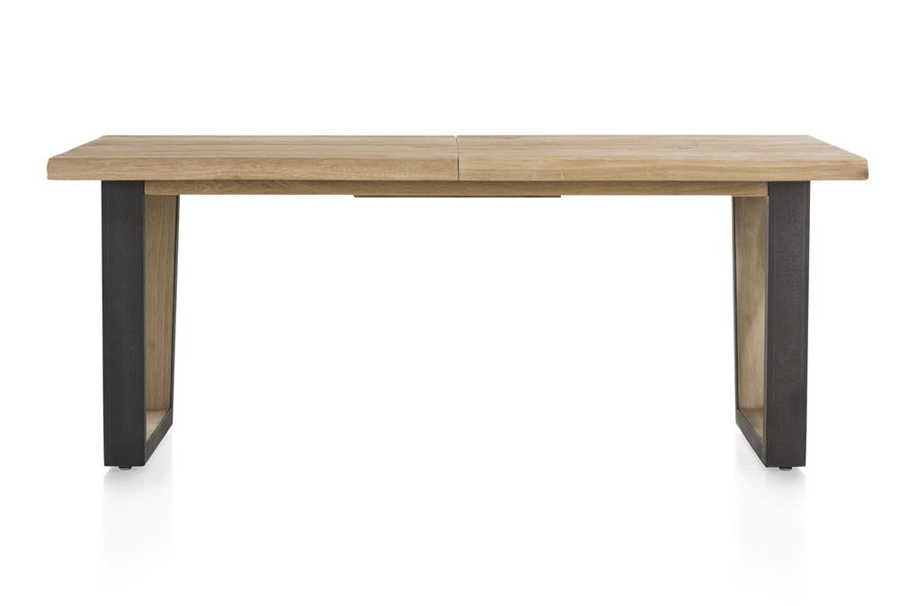 Habufa Metalox Extending Oak Dining Tables-[Habufa Detroit]-[Furniture Village Detroit]-160 cms EXT-U shape metal legs-Wavy edge-Against The Grain Furniture