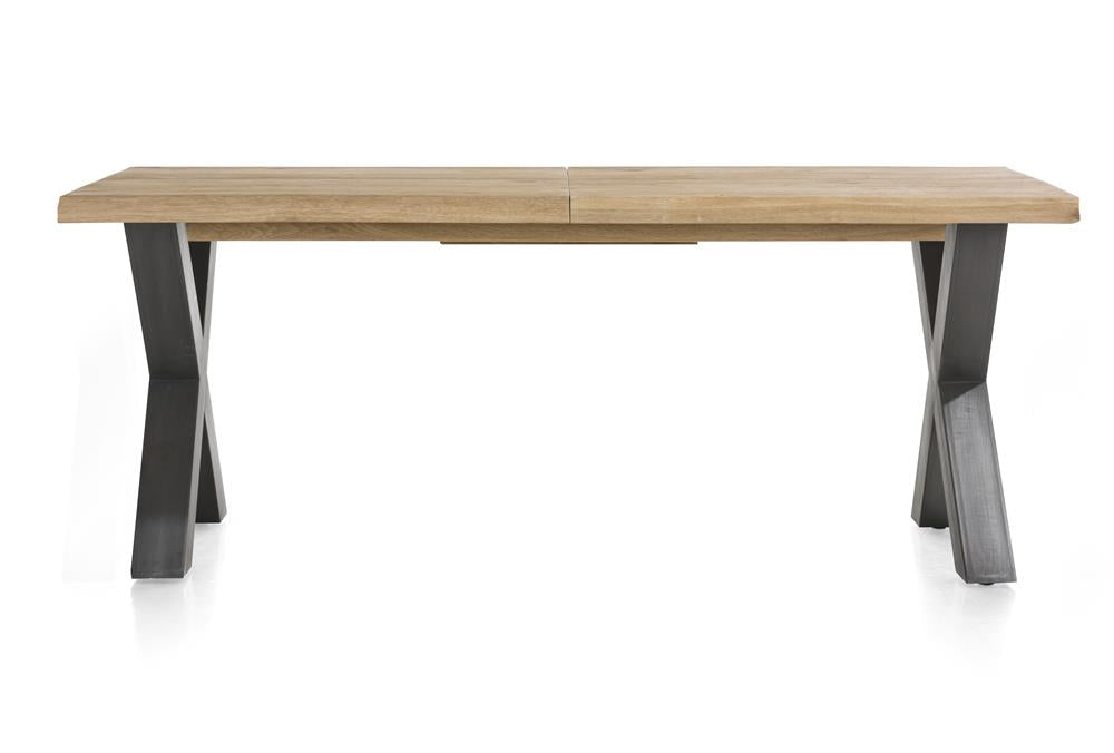 Habufa Metalox Extending Oak Dining Tables-[Habufa Detroit]-[Furniture Village Detroit]-160 cms EXT-X shape metal legs-Wavy edge-Against The Grain Furniture