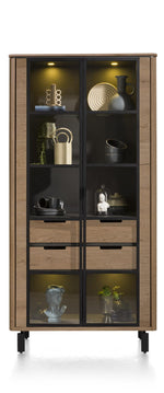 Livada Moreni Bespoke Tall Display Cabinet in Four Colours-Highboard-Against The Grain Furniture-[Habufa Detroit]-[Furniture Village Detroit-[Starburst table]-Against The Grain Furniture
