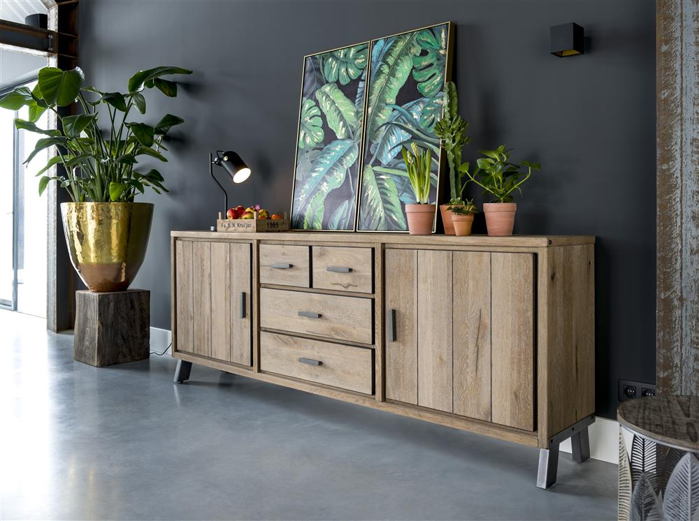 Habufa Vitoria Gun Metal and Oak Sideboards-Dining Tables-Against the Grain Furniture-Against the Grain Furniture-5 shelf bookcase-Furniture Village Philadelphia, Habufa Philadelphia