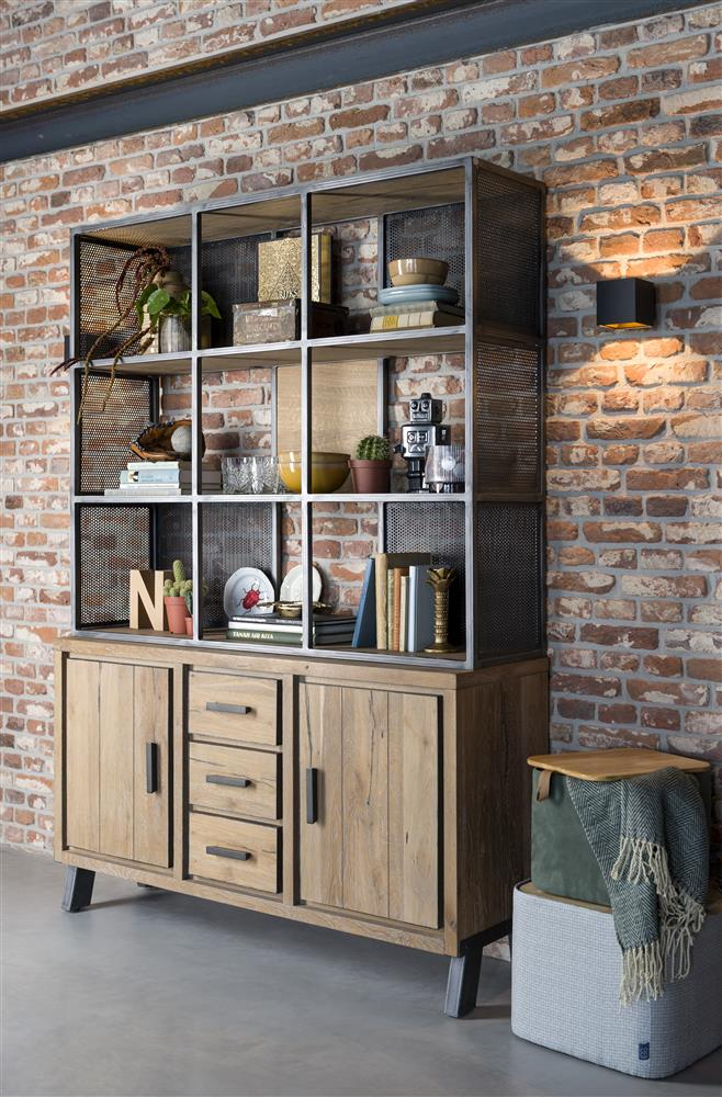 Habufa Vitoria Gun Metal and Oak Buffet Hutch-Display cabinets-Against the Grain Furniture-Against the Grain Furniture-5 shelf bookcase-Furniture Village Philadelphia, Habufa Philadelphia