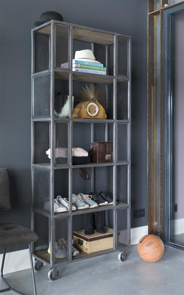 Habufa Vitoria Gun Metal and Oak Room Divider-Bookcases-Against the Grain Furniture-Bookcase/Room Divider-Against the Grain Furniture-5 shelf bookcase-Furniture Village Philadelphia, Habufa Philadelphia